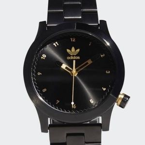Adidas SS round face black & gold watch NWT